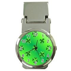 Shamrock Green Pattern Design Money Clip Watches