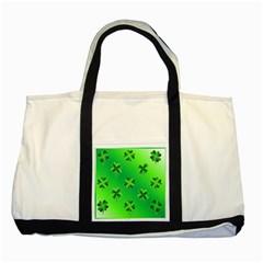Shamrock Green Pattern Design Two Tone Tote Bag