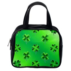 Shamrock Green Pattern Design Classic Handbags (One Side)