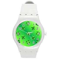 Shamrock Green Pattern Design Round Plastic Sport Watch (M)