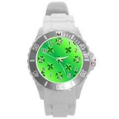 Shamrock Green Pattern Design Round Plastic Sport Watch (L)