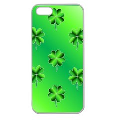Shamrock Green Pattern Design Apple Seamless iPhone 5 Case (Clear)