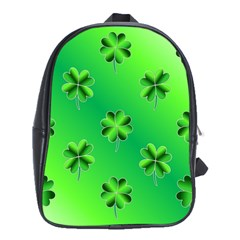 Shamrock Green Pattern Design School Bags (XL)