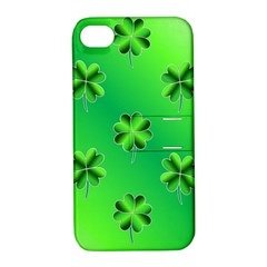 Shamrock Green Pattern Design Apple iPhone 4/4S Hardshell Case with Stand