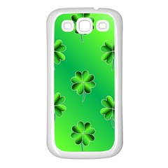 Shamrock Green Pattern Design Samsung Galaxy S3 Back Case (white)