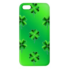 Shamrock Green Pattern Design iPhone 5S/ SE Premium Hardshell Case