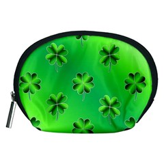 Shamrock Green Pattern Design Accessory Pouches (medium)