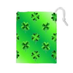 Shamrock Green Pattern Design Drawstring Pouches (Large)