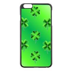 Shamrock Green Pattern Design Apple iPhone 6 Plus/6S Plus Black Enamel Case