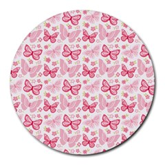 Cute Pink Flowers And Butterflies pattern  Round Mousepads