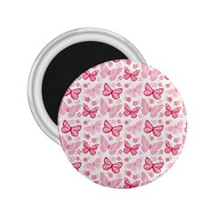 Cute Pink Flowers And Butterflies pattern  2.25  Magnets