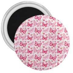 Cute Pink Flowers And Butterflies pattern  3  Magnets