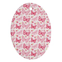 Cute Pink Flowers And Butterflies pattern  Ornament (Oval)