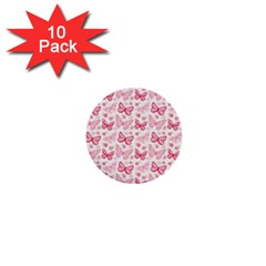 Cute Pink Flowers And Butterflies pattern  1  Mini Buttons (10 pack)