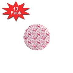 Cute Pink Flowers And Butterflies pattern  1  Mini Magnet (10 pack)