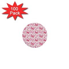 Cute Pink Flowers And Butterflies pattern  1  Mini Buttons (100 pack)