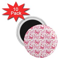 Cute Pink Flowers And Butterflies pattern  1.75  Magnets (10 pack)
