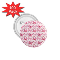 Cute Pink Flowers And Butterflies pattern  1.75  Buttons (100 pack)