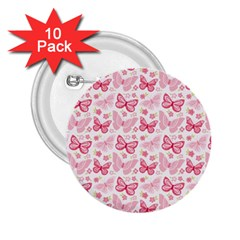 Cute Pink Flowers And Butterflies pattern  2.25  Buttons (10 pack)