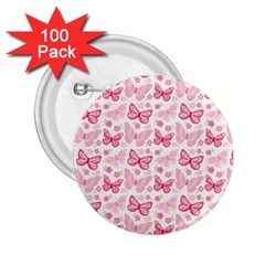 Cute Pink Flowers And Butterflies pattern  2.25  Buttons (100 pack)