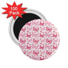 Cute Pink Flowers And Butterflies pattern  2.25  Magnets (100 pack)