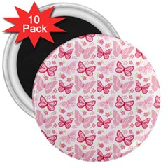 Cute Pink Flowers And Butterflies pattern  3  Magnets (10 pack)