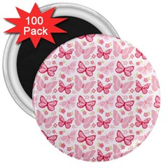Cute Pink Flowers And Butterflies pattern  3  Magnets (100 pack)