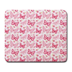 Cute Pink Flowers And Butterflies pattern  Large Mousepads