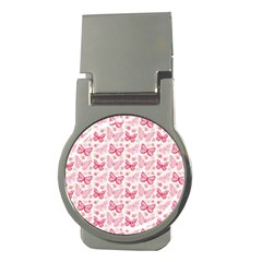 Cute Pink Flowers And Butterflies pattern  Money Clips (Round)