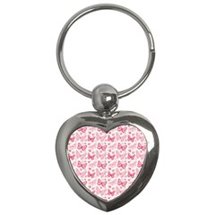 Cute Pink Flowers And Butterflies pattern  Key Chains (Heart)