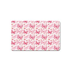 Cute Pink Flowers And Butterflies pattern  Magnet (Name Card)