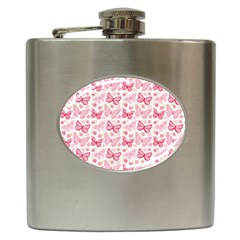 Cute Pink Flowers And Butterflies pattern  Hip Flask (6 oz)
