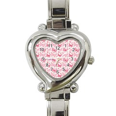Cute Pink Flowers And Butterflies pattern  Heart Italian Charm Watch