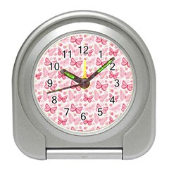 Cute Pink Flowers And Butterflies pattern  Travel Alarm Clocks