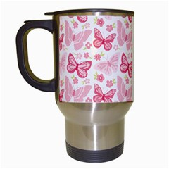 Cute Pink Flowers And Butterflies pattern  Travel Mugs (White)