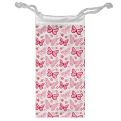 Cute Pink Flowers And Butterflies pattern  Jewelry Bag