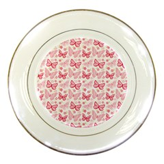 Cute Pink Flowers And Butterflies pattern  Porcelain Plates