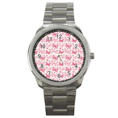 Cute Pink Flowers And Butterflies pattern  Sport Metal Watch