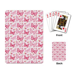 Cute Pink Flowers And Butterflies pattern  Playing Card