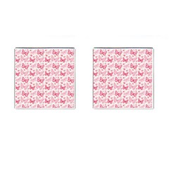Cute Pink Flowers And Butterflies pattern  Cufflinks (Square)