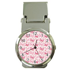 Cute Pink Flowers And Butterflies pattern  Money Clip Watches