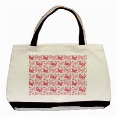 Cute Pink Flowers And Butterflies pattern  Basic Tote Bag