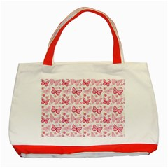 Cute Pink Flowers And Butterflies pattern  Classic Tote Bag (Red)