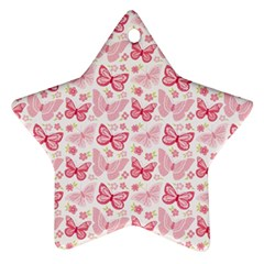 Cute Pink Flowers And Butterflies pattern  Star Ornament (Two Sides)