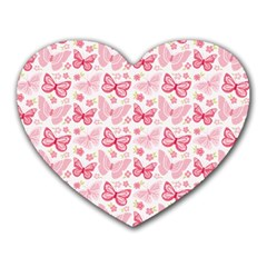 Cute Pink Flowers And Butterflies pattern  Heart Mousepads