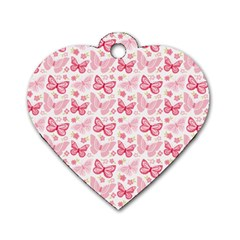 Cute Pink Flowers And Butterflies pattern  Dog Tag Heart (Two Sides)