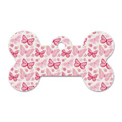 Cute Pink Flowers And Butterflies pattern  Dog Tag Bone (One Side)