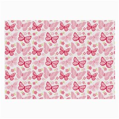 Cute Pink Flowers And Butterflies pattern  Large Glasses Cloth (2-Side)