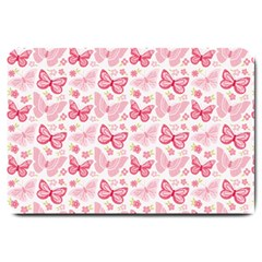 Cute Pink Flowers And Butterflies pattern  Large Doormat