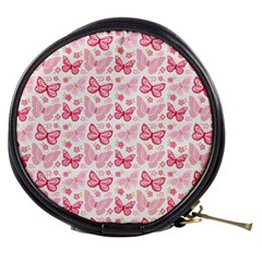 Cute Pink Flowers And Butterflies pattern  Mini Makeup Bags